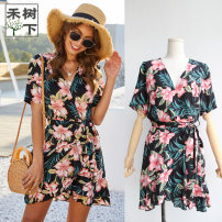 Dress Summer 2020 black S,M,L,XL Short skirt singleton  Short sleeve Sweet V-neck middle-waisted Big flower Socket Ruffle Skirt routine Others Type X Other / other Bohemia