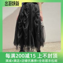 skirt Spring 2021 XS,S Black spot, black pre-sale, 100% brocade Mid length dress High waist 25-29 years old 212C00230 More than 95% other