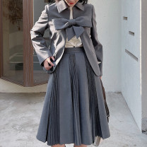 skirt Spring 2021 6,8,10 Grey Spot, grey pre-sale, black spot, black pre-sale Mid length dress Versatile High waist Pleated skirt Solid color 25-29 years old 212C00090 Other / other