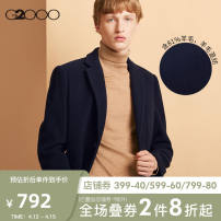 woolen coat Dark blue / 79 G2000 Business gentleman Autumn of 2018 Medium length Other leisure standard Pure e-commerce (online only) youth tailored collar Single breasted tide Straight hem Side seam pocket wool 80% (inclusive) - 89% (inclusive)