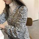 Women's large Spring 2021 White, black, pre-sale random vest S,M,2XL,L,XL singleton  commute Socket Long sleeves Leopard Print Korean version V-neck routine polyester fiber routine 25-29 years old 96% and above longuette