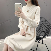 Dress Autumn 2020 longuette singleton  Long sleeves commute Crew neck Loose waist Solid color Socket A-line skirt bishop sleeve Others Type H lady knitting other