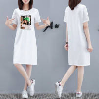 Dress Summer 2020 S,M,L,XL,2XL,3XL,4XL,5XL longuette singleton  Short sleeve commute Crew neck Loose waist character Socket other routine 25-29 years old Type H AI Chunyi house Korean version printing Denim skirt 30% and below other cotton