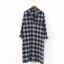 shirt Red, Navy Average size Spring of 2018 cotton 71% (inclusive) - 80% (inclusive) Long sleeves commute Medium length square neck Single row multi button shirt sleeve lattice Straight cylinder Ol style