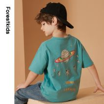 T-shirt green Forest kids 110cm 120cm 130cm 140cm 150cm 160cm 170cm male summer Short sleeve leisure time There are models in the real shooting nothing cotton other Cotton 100% FBSTR2362 Class B Summer 2021 5, 6, 7, 8, 10, 9, 11, 12, 13, 14 Chinese Mainland Zhejiang Province Hangzhou