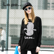 Dress Spring 2016 black XS S M L XL Short skirt singleton  Long sleeves street Crew neck High waist Cartoon animation Socket A-line skirt raglan sleeve Others 18-24 years old Type A La paY-P printing 91% (inclusive) - 95% (inclusive) brocade cotton Europe and America