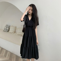 Dress Summer 2021 Black [short] S M L XL 2XL 3XL 4XL Mid length dress singleton  Short sleeve commute V-neck Solid color Socket 25-29 years old Ohmdana / odena Korean version More than 95% other Other 100% Pure e-commerce (online only)