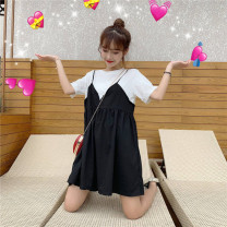 Dress Summer 2021 Black, white vest M,L,XL,2XL,3XL,4XL Miniskirt Fake two pieces Short sleeve commute Crew neck Loose waist Solid color Socket other routine Others Type A Ol style