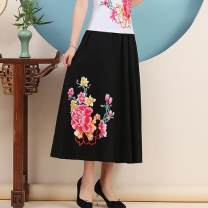 skirt Summer of 2019 M,L,XL Army green, navy blue, black longuette commute Natural waist other Big flower Type A 3123# 51% (inclusive) - 70% (inclusive) Other / other hemp ethnic style