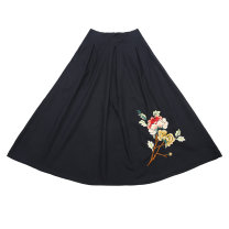 skirt Spring of 2019 Average size Black, red longuette commute Natural waist other Broken flowers Type A 91% (inclusive) - 95% (inclusive) other Other / other cotton Embroidery ethnic style