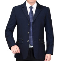 man 's suit Fashion City routine 170,175,180,185,190,195 XZ16 Polyester 100% easy Triple single breasted Other leisure No slits middle age Long sleeves autumn Medium length Basic public Casual clothes Straight hem Solid color Regular collar (collar width 7-9cm) Three dimensional bag No iron treatment