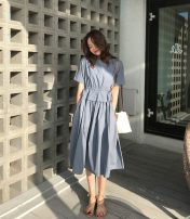 Dress Summer 2020 Black, haze blue S,M,L Mid length dress singleton  Short sleeve commute Crew neck High waist Solid color Socket Pleated skirt Bat sleeve 25-29 years old Type A Other / other Korean version Pocket, lace up More than 95% cotton