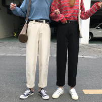 Casual pants Black, light apricot M,L,XL,2XL,3XL,4XL Spring 2021 Ninth pants Straight pants High waist commute routine 18-24 years old GP-5675 Korean version pocket