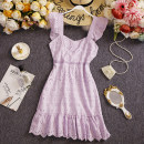 Dress Summer 2021 Purple, white, black M, L Short skirt singleton  Short sleeve commute square neck High waist Solid color Socket A-line skirt routine Others 25-29 years old Type X Other / other Retro Zipper, hollow out W789 81% (inclusive) - 90% (inclusive) other other
