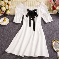 Dress Summer 2021 White, black Average size Short skirt singleton  Short sleeve commute square neck High waist Solid color Socket other puff sleeve Others 25-29 years old Type A Other / other Korean version Bow, tie, tie W828 81% (inclusive) - 90% (inclusive) other other