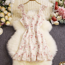 Dress Summer 2021 Pink, cyan M, L Mid length dress singleton  Sleeveless Sweet square neck High waist Decor Socket A-line skirt routine camisole 25-29 years old Type A Other / other zipper W815 81% (inclusive) - 90% (inclusive) other other solar system