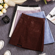 skirt Spring 2021 S,M,L,XL Black, apricot, purple, Burgundy, blue Short skirt commute High waist A-line skirt Solid color Type A 25-29 years old W594 81% (inclusive) - 90% (inclusive) other Other / other other zipper Korean version