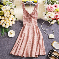 Dress Summer 2021 Average size Mid length dress singleton  Sleeveless commute V-neck High waist lattice Socket A-line skirt routine camisole 25-29 years old Type A Other / other Simplicity W480 81% (inclusive) - 90% (inclusive) other other