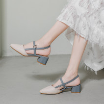 Sandals 33,34,35,36,37,38,39,40,41 Apricot brown, apricot blue Superfine fiber Shangshang house Baotou Thick heel Middle heel (3-5cm) Summer 2020 T-shaped buckle Korean version Color matching Adhesive shoes Youth (18-40 years old) rubber office Rear trip strap Low Gang Hollow Microfiber skin 616-6