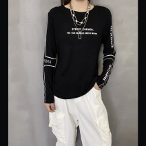T-shirt black S,M,L Winter 2020 Long sleeves Crew neck easy Regular routine street cotton 51% (inclusive) - 70% (inclusive) 18-24 years old originality letter Europe and America