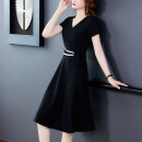Dress Summer 2020 Black, elegant black M,L,XL,2XL,3XL,4XL Middle-skirt singleton  Short sleeve commute V-neck middle-waisted Solid color zipper A-line skirt routine Others 35-39 years old Type A Deming family lady Frenulum 86 little black dress 31% (inclusive) - 50% (inclusive) knitting cotton