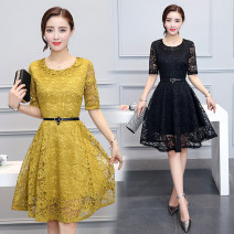 Middle aged and old women's wear Spring 2021, summer 2021 commute Dress Self cultivation singleton  Solid color 40-49 years old Socket thin Crew neck Medium length routine OTHER FACE belt Lace, polyester 51% (inclusive) - 70% (inclusive) zipper Middle-skirt Lace skirt lady