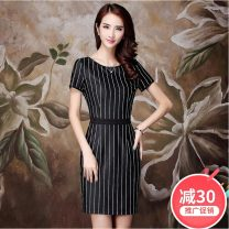Dress Summer 2021 Black and white vertical stripe M L XL XXL Short skirt singleton  Short sleeve commute Crew neck middle-waisted stripe Socket One pace skirt other Others 30-34 years old Type H Xu Dingxuan Ol style Print stitching More than 95% knitting polyester fiber Pure e-commerce (online only)