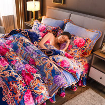 Bedding Set / four piece set / multi piece set Polyester (polyester fiber) Quilting Plants and flowers Gao Kezhong Huyue Polyester (polyester fiber) 4 pieces Gao Kezhong Bed sheet, bed skirt Countryside twill Reactive Print  2020950-1 Thermal storage Coral velvet