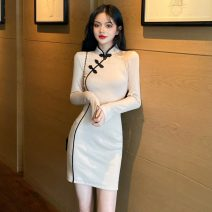 cheongsam Spring 2021 S,M,L Apricot Long sleeves Retro daily Solid color 18-25 years old 51% (inclusive) - 70% (inclusive)