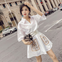 Dress Summer 2021 White [with belt] S,M,L Middle-skirt singleton  Short sleeve commute Polo collar Loose waist Decor Socket A-line skirt pagoda sleeve 18-24 years old Type A Other / other Korean version Embroidery, pocket 51% (inclusive) - 70% (inclusive) polyester fiber