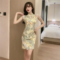 cheongsam Spring 2021 S,M,L Decor Sleeveless Short cheongsam ethnic style Low slit daily woman's dress buttoned down from right armpit Decor 18-25 years old Piping 51% (inclusive) - 70% (inclusive)