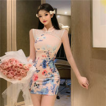 cheongsam Spring 2021 S,M,L Apricot Short sleeve Short cheongsam ethnic style Low slit daily Round lapel Decor 18-25 years old Piping 51% (inclusive) - 70% (inclusive)