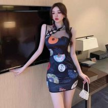 cheongsam Spring 2021 S,M,L Apricot, black Short sleeve Short cheongsam Retro Low slit daily Oblique lapel Abstract pattern 18-25 years old Piping 51% (inclusive) - 70% (inclusive)