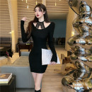 Dress Spring 2021 Apricot, grey, black Average size Short skirt singleton  Long sleeves commute Crew neck High waist Solid color Socket One pace skirt other Hanging neck style 18-24 years old T-type Korean version Cut out, stitching, lace 51% (inclusive) - 70% (inclusive) other other