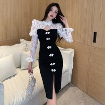 cheongsam Spring 2021 S,M,L white Long sleeves long cheongsam Retro Low slit daily woman's dress buttoned down from right armpit 18-25 years old Piping 51% (inclusive) - 70% (inclusive)