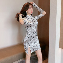cheongsam Spring 2021 S,M,L Black, silver Long sleeves Short cheongsam lady Low slit daily Oblique lapel Animal design 18-25 years old Piping polyester fiber 51% (inclusive) - 70% (inclusive)