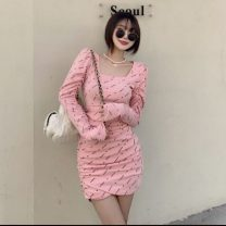 Dress Spring 2021 Grey, black, pink Average size Short skirt singleton  Long sleeves commute square neck High waist letter Socket other other Others 18-24 years old Type H Korean version Fold, print 51% (inclusive) - 70% (inclusive) polyester fiber