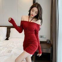 Dress Spring 2021 Red, black Average size Short skirt singleton  Long sleeves commute One word collar High waist Solid color Socket One pace skirt routine Hanging neck style 18-24 years old Type A Korean version Bandage 51% (inclusive) - 70% (inclusive) polyester fiber