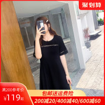 Women's large Summer 2021 L XL 2XL 3XL 4XL 5XL Dress singleton  commute Self cultivation moderate Socket Short sleeve Solid color Ol style Crew neck routine Dancing 30-34 years old Middle-skirt Polyester 100% other