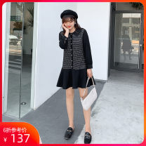 Women's large Autumn of 2019 L XL 2XL 3XL 4XL 5XL Dress singleton  commute easy moderate Socket Long sleeves lattice Korean version other shirt sleeve Dancing 25-29 years old Button 96% and above Middle-skirt Polyester 100% other