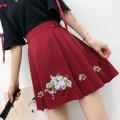 skirt Summer 2021 S,M,L,XL claret Short skirt Sweet High waist Pleated skirt Animal design Type A 18-24 years old 30% and below other polyester fiber Mori