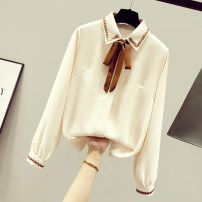 shirt Apricot, white, blue, apricot plush, white plush, Blue Plush S,M,L,XL,2XL Spring 2021 other 96% and above Long sleeves commute Regular Polo collar Single row multi button shirt sleeve Solid color 25-29 years old Straight cylinder Other / other Korean version Embroidery, buttons Chiffon