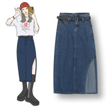 skirt Spring 2021 S,M,L Blue (with belt) Middle-skirt Versatile High waist A-line skirt Solid color Type A 18-24 years old 71% (inclusive) - 80% (inclusive) Denim other