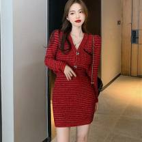 Dress Winter 2020 Red dress S,XL,L,M Short skirt Two piece set Long sleeves commute V-neck High waist Solid color Three buttons One pace skirt routine Others 25-29 years old Type A Other / other Ol style Folds, pockets, stitches, buttons QJZD2306 other