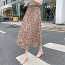 skirt Summer 2020 Average size Red, green Mid length dress Versatile High waist Pleated skirt Decor Type A 18-24 years old 8011# other