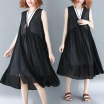 Women's large Summer 2020 black Average size (100-180 kg) Dress Fake two pieces easy thin Socket Sleeveless Solid color Crew neck Medium length Medium length