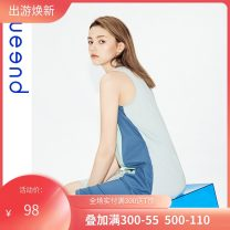 Nightdress Chundu Retro Blue S,M,L,XL,XXL Simplicity Short sleeve Leisure home Short skirt summer Solid color youth Crew neck cotton More than 95% ZK-QDWC04356