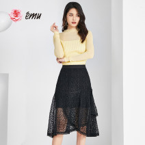 skirt Summer 2020 S M L XL black Mid length dress Versatile Natural waist A-line skirt Solid color 30-34 years old More than 95% Emu/ Yimiao nylon Polyamide fiber (nylon) 100% Same model in shopping mall (sold online and offline)