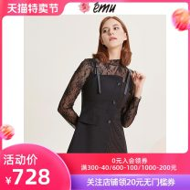 Dress Autumn of 2019 black S M L XL Short skirt singleton  Sleeveless commute other High waist stripe Single breasted Irregular skirt other camisole 25-29 years old Emu/ Yimiao lady More than 95% polyester fiber Polyester 100% Same model in shopping mall (sold online and offline)