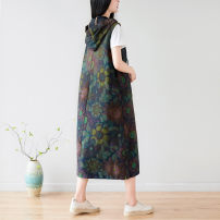 Women's large Spring 2021 Graph color Average size Dress singleton  Sweet easy Conjoined Sleeveless Plants and flowers Hood Medium length cotton Make old Other / other 25-29 years old pocket 96% and above Medium length zipper